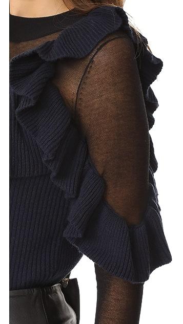 Self Portrait Asymmetric Frill Sweater