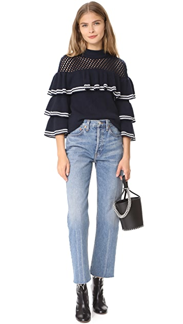 Self Portrait Striped Frill Sweater