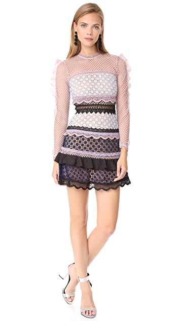 Self Portrait Bellis Lace Trim Dress with Frilled Sleeves