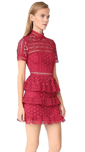 Self Portrait High Neck Star Lace Paneled Dress