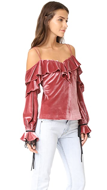 Self Portrait Velvet Off Shoulder Frill Top