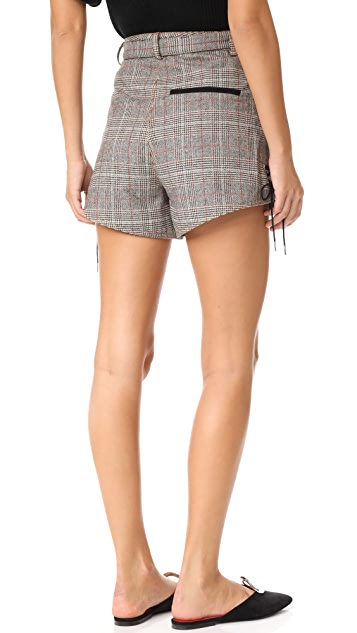 Self Portrait Checked Double Zip Shorts