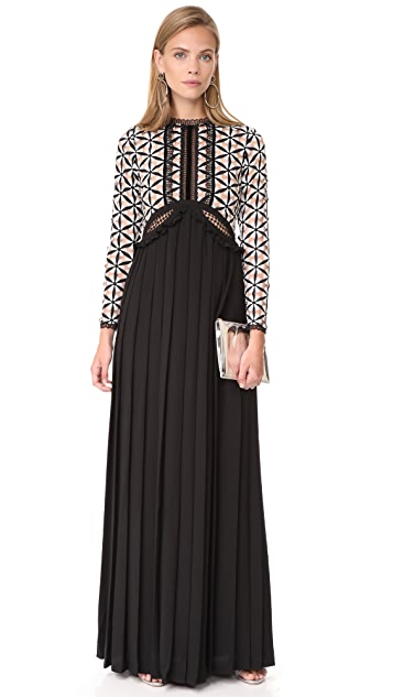 Self Portrait Guipure Maxi Dress with Waist Cutouts