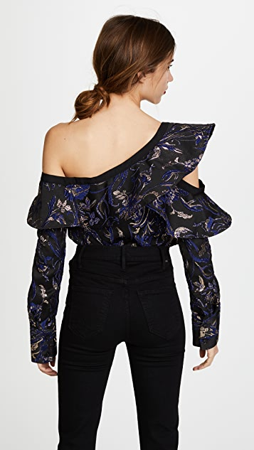 Self Portrait Metallic Jacquard Frill Top