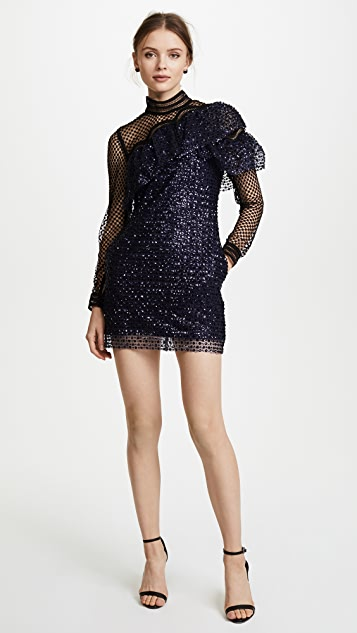 Self Portrait Glitter Mesh Asymmetric Frill Dress