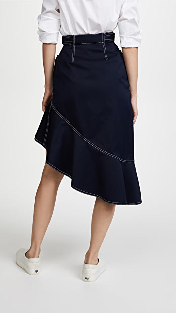 Self Portrait Flounced Canvas Skirt