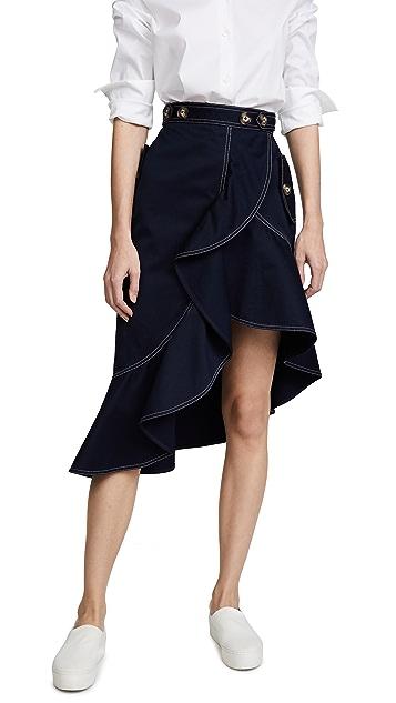 Self Portrait Flounced Canvas Skirt