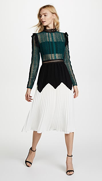 Self Portrait Stripe Panelled Lace Midi Dress