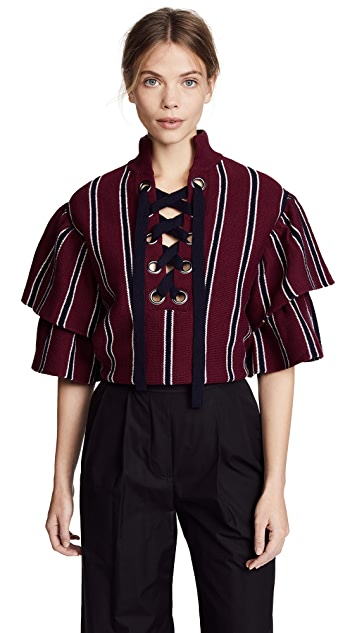 Self Portrait Striped Frill Sleeve Sweater