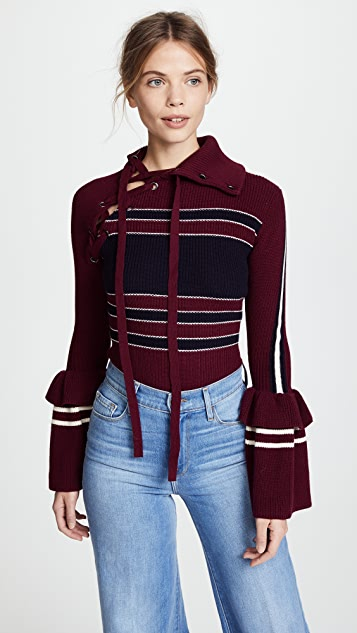 Self Portrait Striped Lace Up Sweater - Burgundy