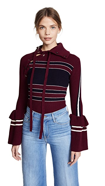 Self Portrait Striped Lace Up Sweater