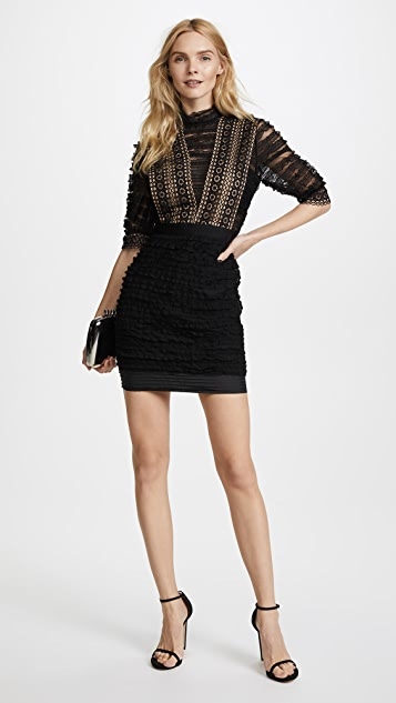 Self Portrait Ruffled Lace Dress