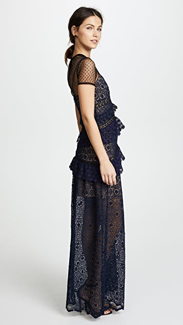 Self Portrait Lace Paneled Maxi Dress