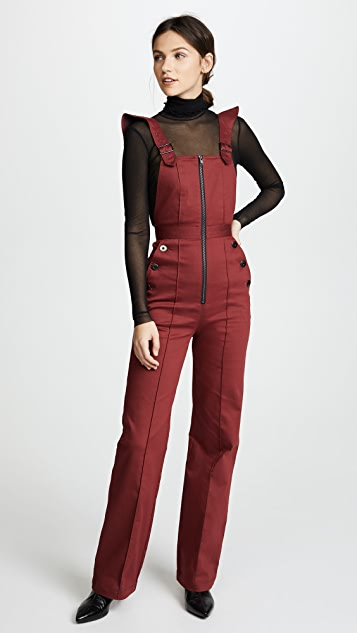 Self Portrait Burgundy Dungarees