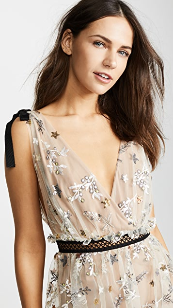 Self Portrait Star Mesh Midi Dress
