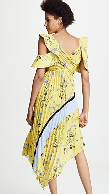 Self Portrait Pleated Asymmetric Floral Dress