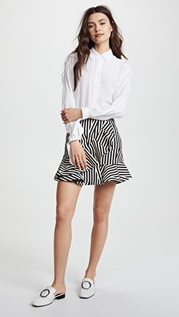 Self Portrait Abstract Stripe Ruffle Skirt