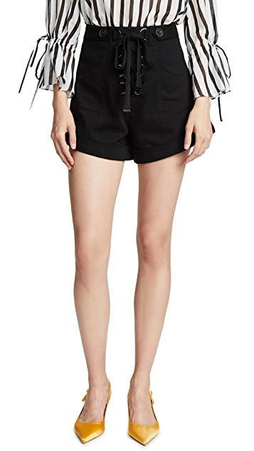 Self Portrait Tie Front Canvas Shorts
