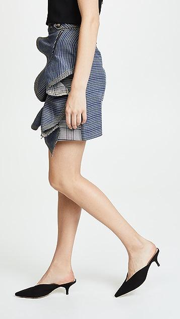 Self Portrait Flounced Check Skirt