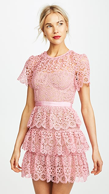 Self Portrait Tiered Lace Mini Dress