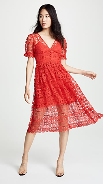 Self Portrait Red Lace Midi Dress