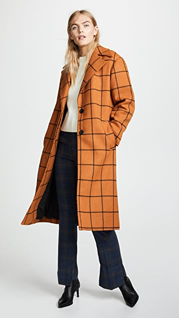Self Portrait Long Check Overcoat