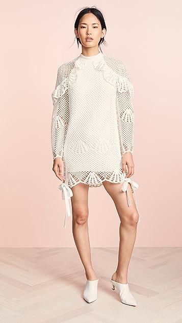 34f23600468f Self Portrait High Neck Crochet Dress ...
