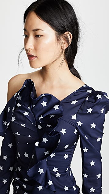 Self Portrait Star Print Frill Dress