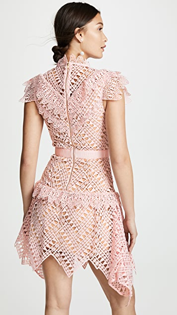 Self Portrait Abstract Triangle Lace Dress