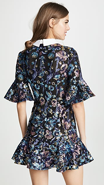 Self Portrait Floral Sequin Embroidery Dress