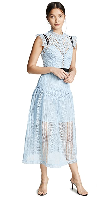 Self Portrait Abstract Lace Midi Dress