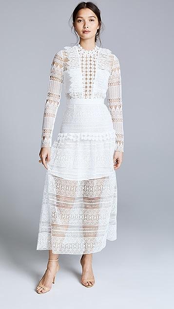 Self Portrait Миди-платье Spiral с кружевными вставками