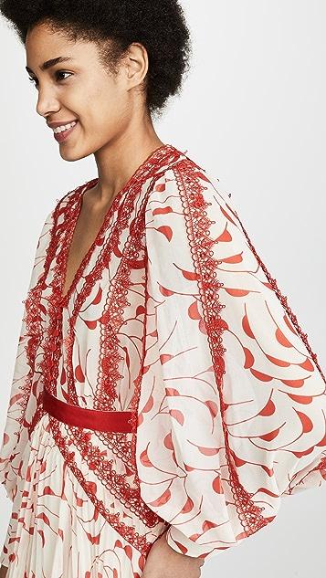 Self Portrait Chiffon Midi Dress