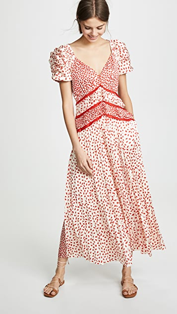 Self Portrait Dot Satin Printed Dress