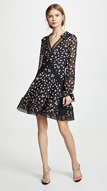 Self Portrait Twist Front Ditsy Mini Dress