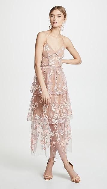 Self Portrait Floral Embellished Midi Dress