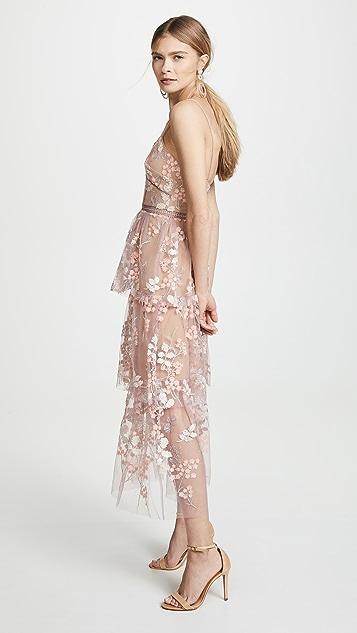 Self Portrait Миди-платье с декоративной отделкой и цветочным рисунком