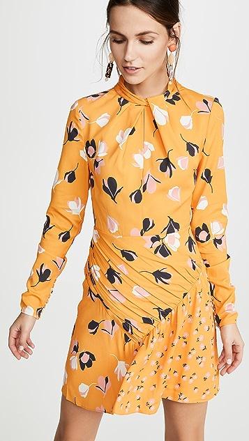Self Portrait Мини-платье с перекрученным вырезом и цветочным рисунком