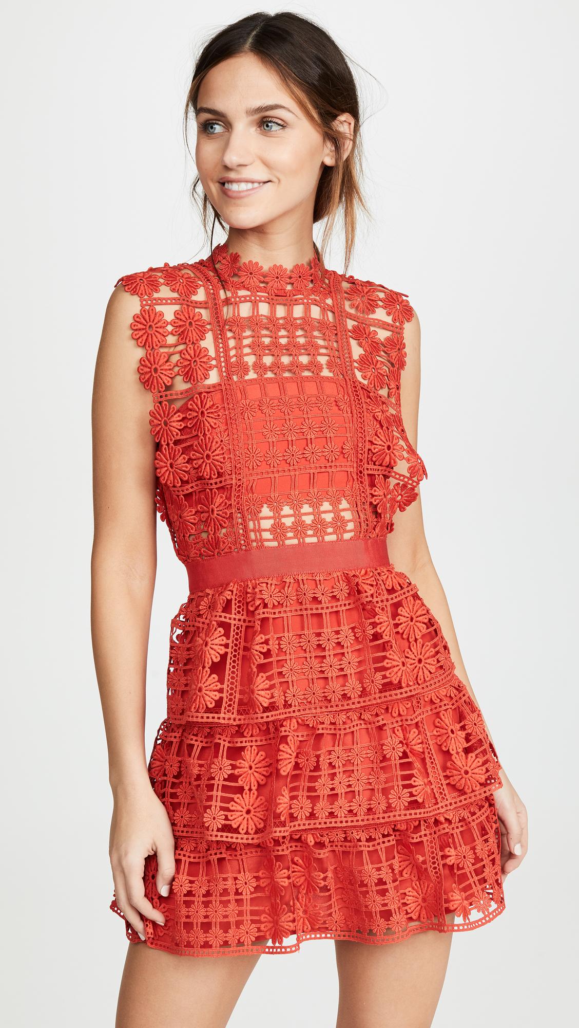 Self Portrait Red Floral Lattice Lace Dress