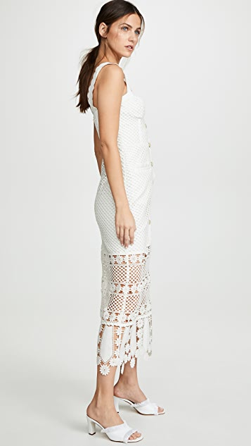Self Portrait Fishnet Crochet Lace Midi Dress Shopbop