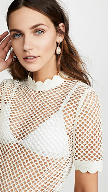 Self Portrait Fishnet Crochet Lace Top