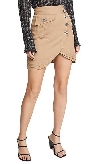 Self Portrait Camel Miniskirt