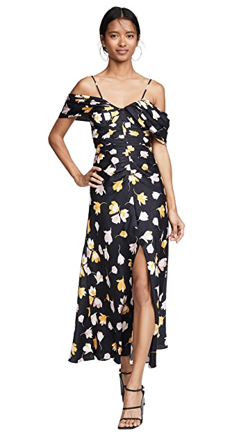 Self Portrait Off Shoulder Floral Printed Dress