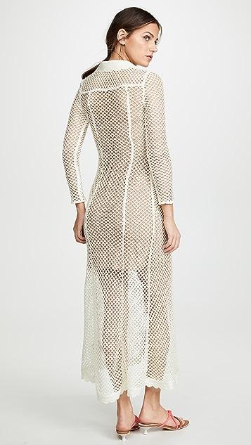 Self Portrait Fishnet Crochet Lace Dress