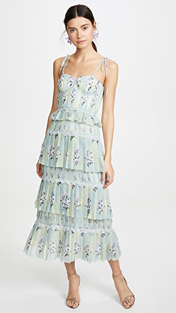 Self Portrait Tiered Floral Lace Printed Dress