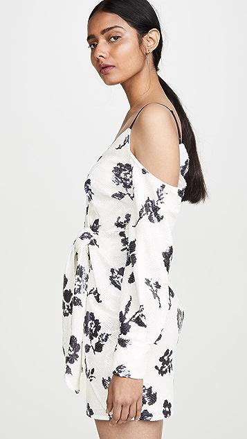 Self Portrait Платье-халат с цветочным рисунком и блестками