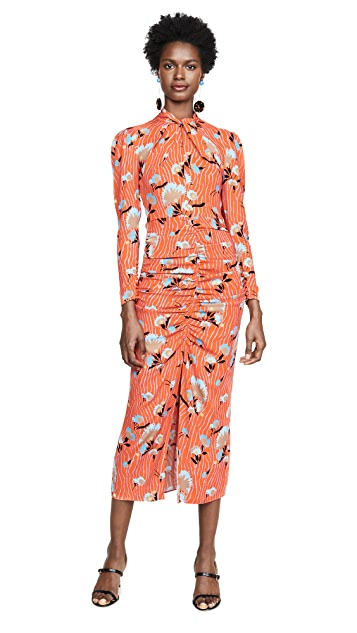 Self Portrait Botanical Printed Crepe Midi Dress