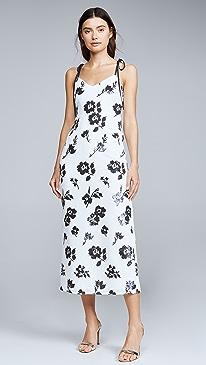 Sleeveless Floral Sequin Midi Dress