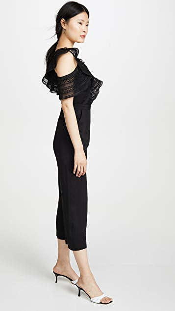 Self Portrait One Shoulder Frilled Jumpsuit