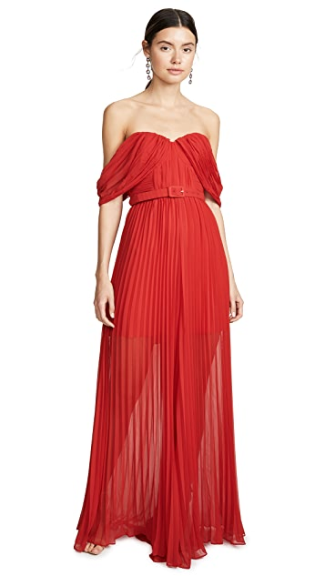 Self Portrait Red Off Shoulder Jumpsuit